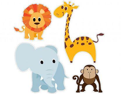 Vinilos infantiles animales cuatro amigos de la selva for Vinilos infantiles animales