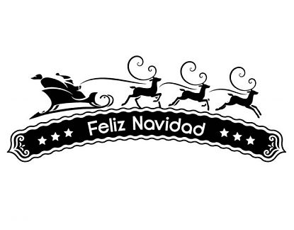 8cd6615a295ce Vinilo navideño con el trineo de Papá Noel y texto de bienvenida la Navidad  05052