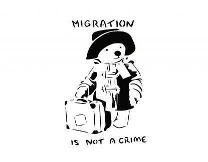 MIGRATION IS NOT A CRIME  - Vinilo decorativo de pared de Banksy 07272