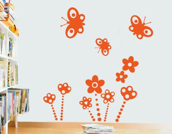 Vinilos decorativos infantiles flores y mariposas 01642 for Vinilos decorativos mariposas