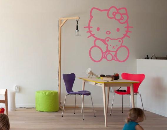 Vinilo infantil para decoraci n de habitaciones infantiles hello kitty con osito 01649 - Vinilos para habitaciones de bebes ...