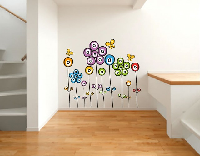 Adhesivos infantiles decoraci n composici n floral - Decoracion de interiores infantil ...