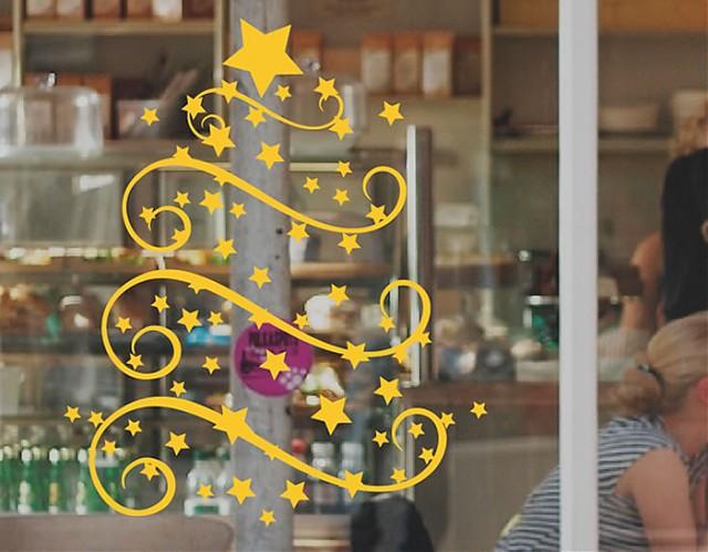 Vinilo fiestas navidad rbol de navidad 5 02018 tienda for Colocacion vinilo en cristal