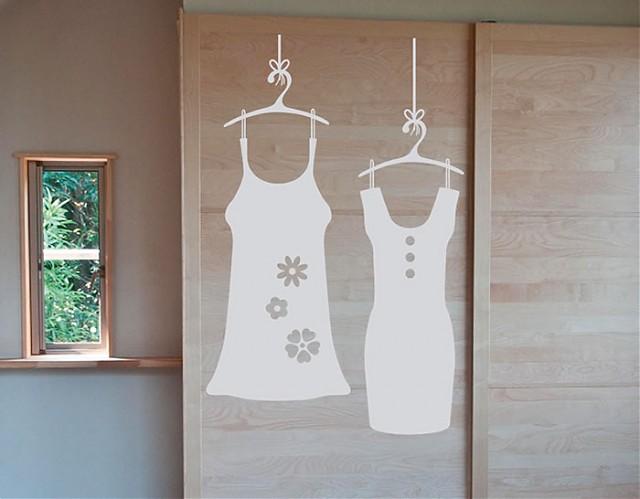 Vinilos adhesivos sobre moda para decoraci n de armarios puertas y paredes vestidos y perchas - Decoracion paredes vinilos adhesivos ...