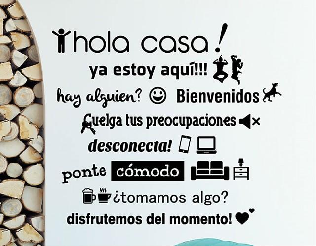 Vinilos con textos y frases divertidas hola casa 04414 - Vinilos con textos ...