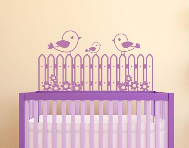 Vinilo decorativo para beb s pajaritos en la verja del - Vinilo pared bebe ...