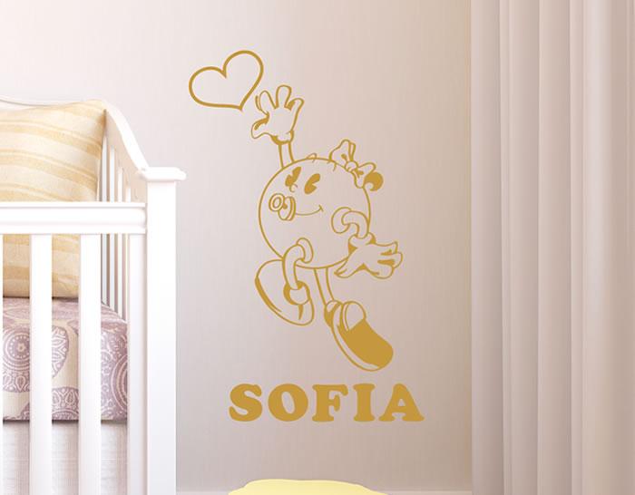 Vinilos adhesivos decorativos nombres infantiles ni as for Adhesivos pared bebe