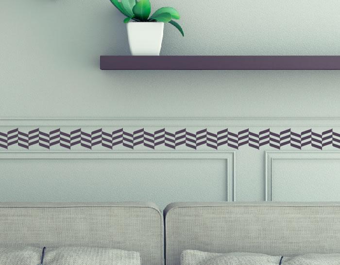 Cenefa en vinilo adhesivo especial paredes ilusiones - Cenefas para espejos ...