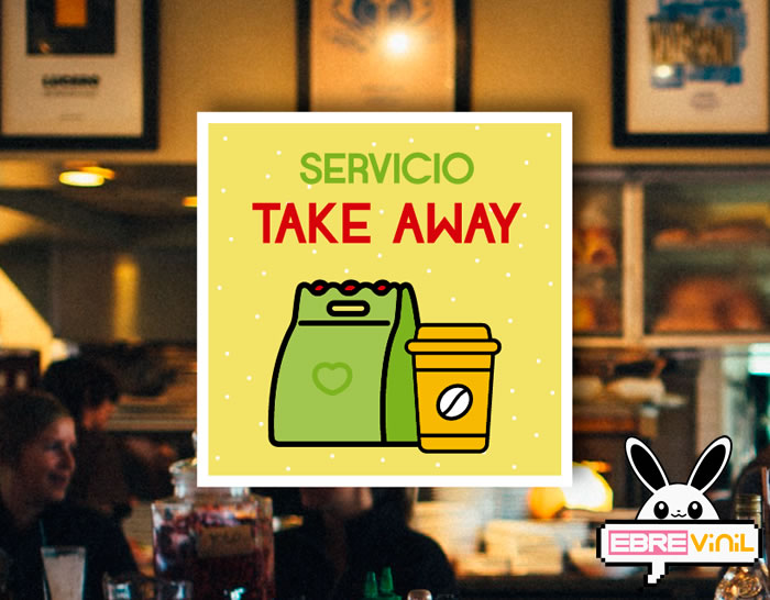 take away cartel adhesivo