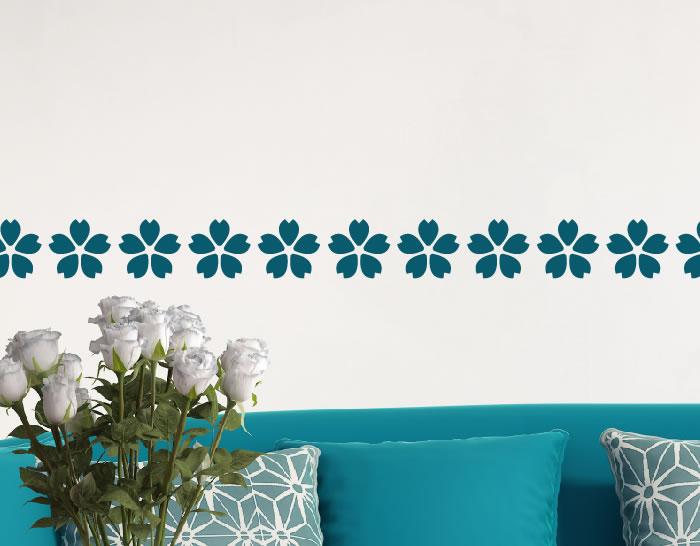Decoraci n con cenefas adhesivas flores de cinco p talos for Cenefas de vinilo para cocinas