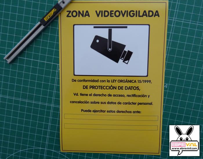 Pegatina videovigilancia lopd fabricada en vinilo adhesivo - Cartel de videovigilancia ...
