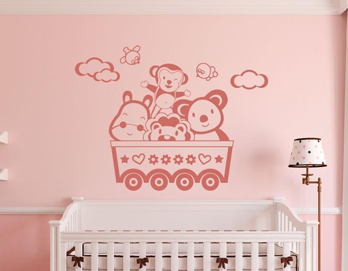 Vinilo habitaci n beb jugando en el vag n del tren for Stickers para habitaciones