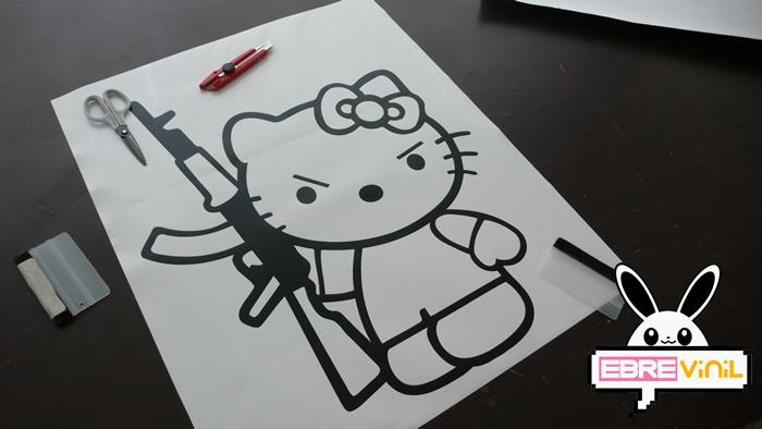 Vinilos Hello Kitty Pared.Pegatina De Vinilo Hello Kitty Ak 47 02929 Los Mejores