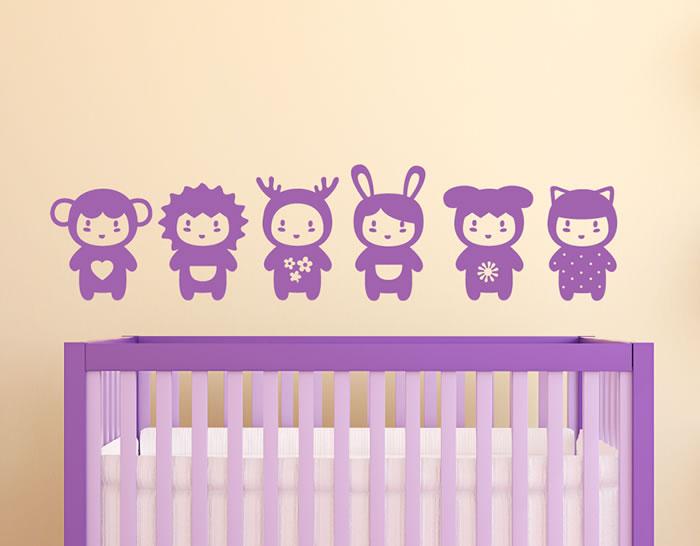 Vinilo con seis peluches para decorar el dormitorio del for Vinilos dormitorio bebe