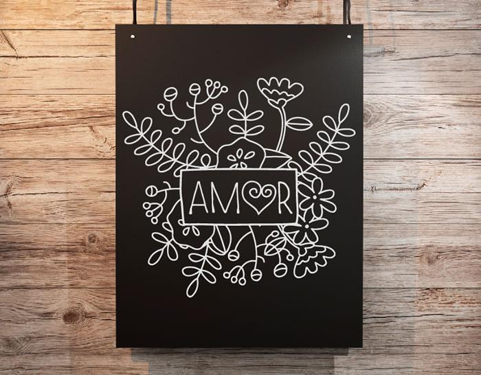 """Paredes románticas con vinilos decorativos florales """"amor"""" 04878 ..."""