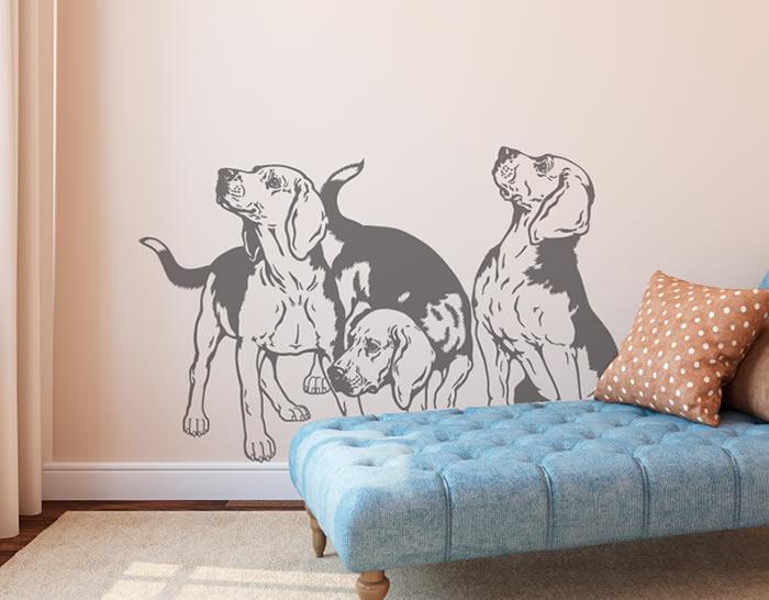 Vinilo decorativo con tres perros beagle 04989 tienda for Vinilo habitacion matrimonio