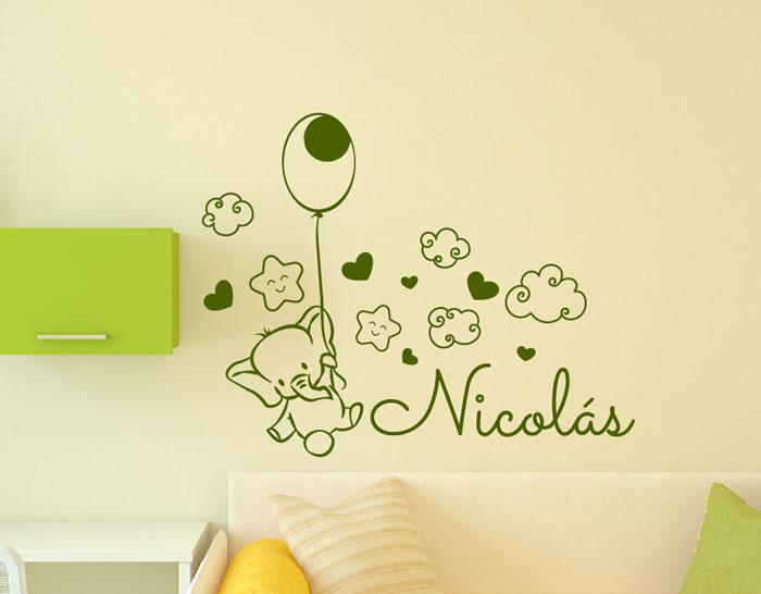 Vinilos infantiles nombre beb personalizados para la for Stickers para decorar paredes infantiles