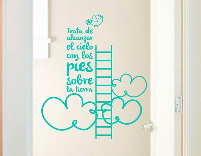 Vinilo adhesivo textos trata de alcanzar el cielo con los - Vinilos para habitaciones de bebes ...