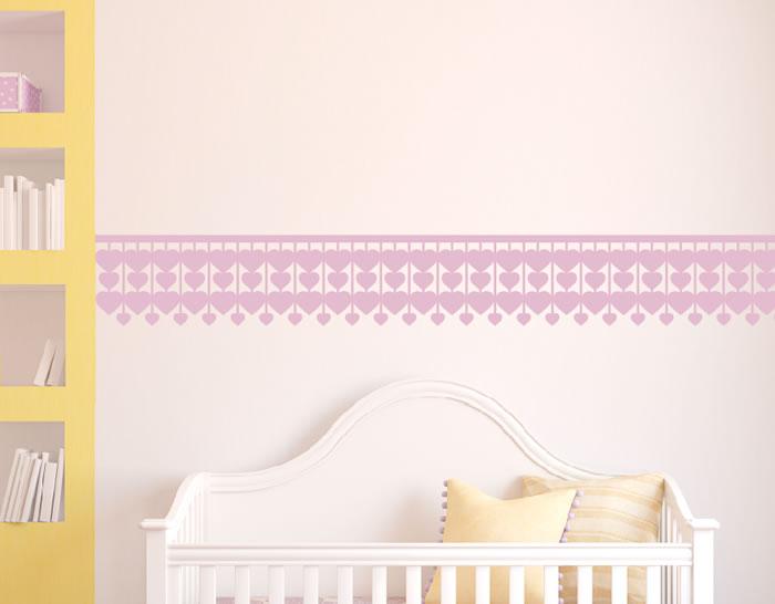 Cenefas infantiles de pared en vinilo adhesivos corazones - Cenefa habitacion bebe ...