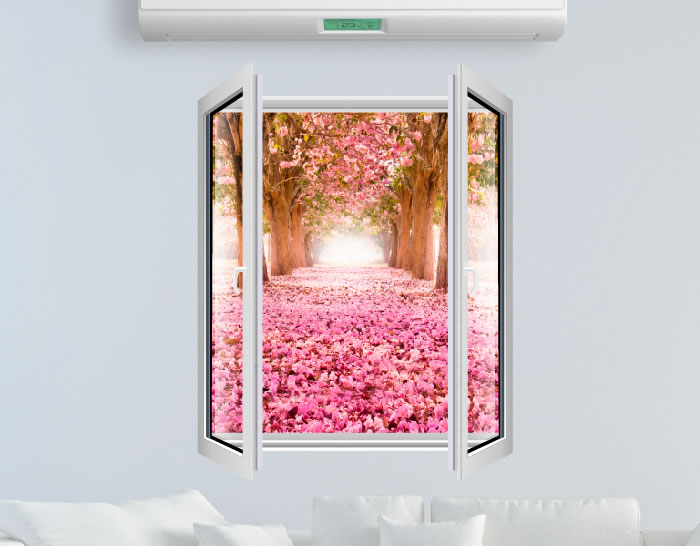 Vinilo ventanas abiertas con paisajes de ensue o 04482 for Vinilos murales paisajes