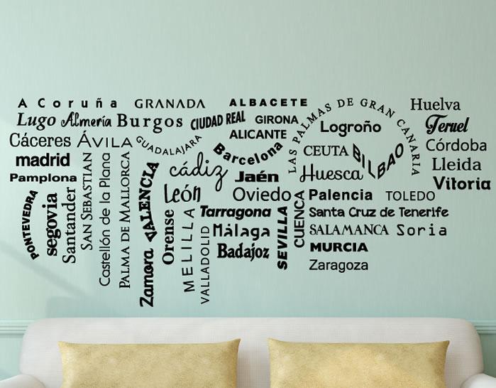 Vinilo decorativo con todas las capitales de provincia de espa a 04744 tienda online de - Vinilo huesca ...