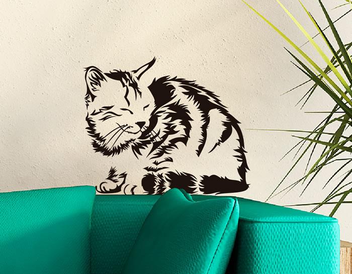 Vinilo decorativo tema animales gato dormil n 0633 - Vinilos decorativos gatos ...
