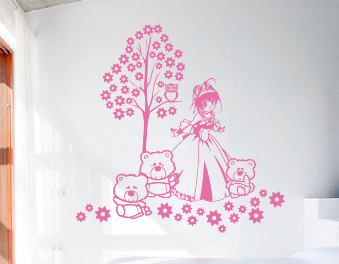Vinilos infantiles de pared mi princesa y sus ositos for Espejos decorativos infantiles